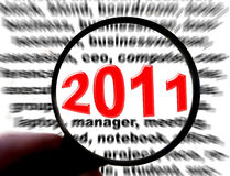 2011 with magnifying. 2011 text with magnifying glass Royalty Free Stock Photo