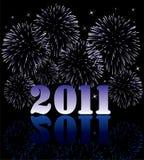2011 números com fogos-de-artifício Imagens de Stock