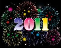 2011 números com fogos-de-artifício Foto de Stock