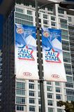 2011 NBA All Star Game at the Staples Center. LOS ANGELES, CALIFORNIA, USA - FEBRUARY 17th 2011: Exterior banners promoting the 2011 NBA All Star Game, the day Stock Photo