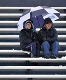 2011 NCAA-Fußball - Gebläse im Schnee Stockbilder