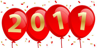 2011 neues Jahr-Ballone Lizenzfreie Stockbilder