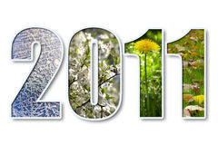 2011 new year. 2011 digits title with seasons background over white Stock Photography