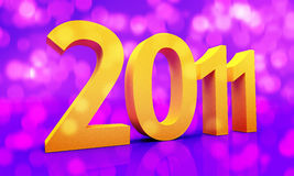 2011 NEW YEAR. On abstract shining background Royalty Free Stock Photo