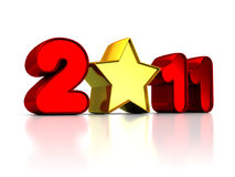 2011 new year. Abstract 3d illustration of 2011 sign with star, over white background Stock Photo