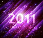 2011 new year abstract shiny background. 2011 new year purple abstract background with shining diagonal stripes Stock Photos
