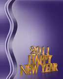 2011 New Year background. 3D gold numbers 2011 for New years eve greeting or Christmas holiday party invitation on purple abstract background Royalty Free Stock Photography