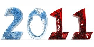 2011 new year of blue water and red Royalty Free Stock Photos
