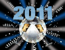 2011 new year celebration. Mirror ball celebrating new year Stock Photos
