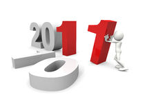 2011 New year concept. A 3D Conceptual Image. Isolated on White stock illustration