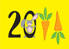 2011 new year In figures. Two thousand eleventh new year In figures in the form of carrots, with  smiling rabbit Stock Photography