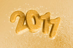 2011 new year - gold star. 2011 new year glitter made with gold letters vector illustration