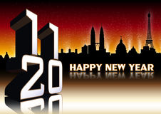 2011 New Year Greeting Cards. Greeting Cards with skyline of Rome, Paris Royalty Free Stock Image
