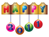 2011 new year greetings. Illustration of happy new year 2011 greetings on white background Stock Photography