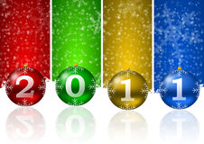 2011 new year illustration. With christmas balls and snow flakes Royalty Free Stock Photos