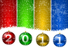 2011 new year illustration with christmas balls an. D snow flakes Royalty Free Stock Image