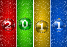 2011 new year illustration with christmas balls an. D snow flakes Royalty Free Stock Images