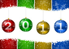 2011 new year illustration with christmas balls an. D snow flakes Stock Images