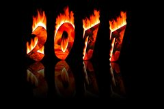 2011 new year numbers in fire with reflecting Royalty Free Stock Photo