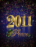 2011 New Year peace. 3D gold numbers 2011 for New years eve greeting or party invitation on dark background with sparkling lights, peace text adorned with holly Royalty Free Stock Images