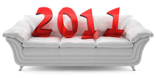 2011 new year on a white leathern sofa. 3D new year 2011 of red glass on the white leathern sofa stock illustration