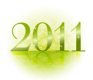 2011 new years card. In green colors Stock Images