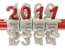 2011 number on cylinder. 2011 red numbers with other white numbers on cylinder vector illustration