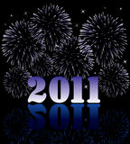2011 numbers with fireworks Stock Images