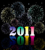 2011 numbers with fireworks Royalty Free Stock Photo