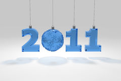 2011 numbers glass decoration. 3d Royalty Free Stock Image