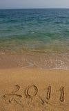 2011 op het strand. Royalty-vrije Stock Afbeeldingen