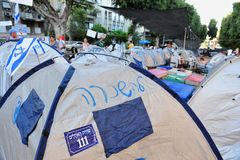 2011 protestas de vivienda en Israel Foto de archivo libre de regalías