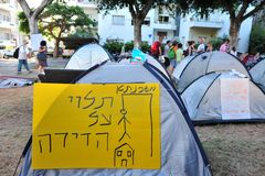 2011 protestations renfermantes en Israël Photographie stock libre de droits