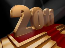 2011 on red carpet. 3d rendered image of 2011 on red carpet and gold podium Royalty Free Stock Photos