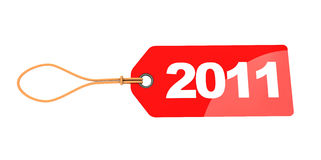 2011 red tag. Abstract 3d illustration of 2011 year sign red tag, isolated over white stock illustration