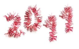 2011 in red tinsel Stock Image