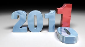 2011 replacing 2010. 3D render 2011 replacing 2010 Royalty Free Stock Photo