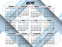 2011 Retro Blue Gray Striped Abstract Calendar. Full Year 2011 Circle and Strips Abstract Editable Vector Illustration royalty free illustration
