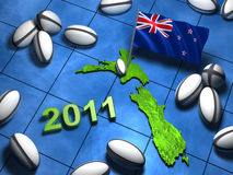 2011 rugby design in New Zealand with its flag. And many rugby balls Stock Image
