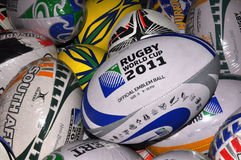 2011 Rugby World Cup - Rugby Balls. 14 September 2011, Christchurch New Zealand Royalty Free Stock Photography