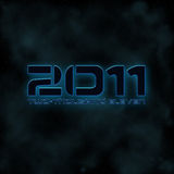 2011 Sci Fi Text. 2011 Two thousand eleven numbers and text on an outer space background royalty free illustration
