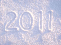 2011 in snow. 2011 hand drawn into fresh snowfall Stock Image