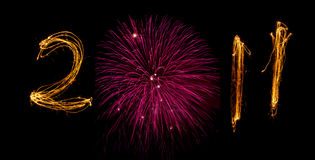 2011 sparklers with zero as pink firework Stock Photography