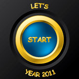 2011 start button. With golden ring vector illustration