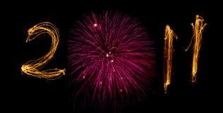 2011 sterretjes met nul als roze vuurwerk Stock Fotografie