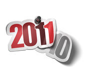 2011 sticker. 2011 over 2010 sticker - image over a white background stock illustration