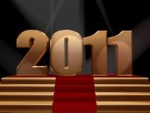 2011 sur le podiume d'or Images stock