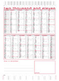 2011 technical calendar with rulers. 2011 technical calendar with moons, weeks, all days and rulers Stock Photography