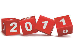 2011 text in blocks. Illustration of welcoming 2011 on white background stock illustration