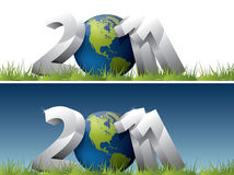 2011 text with Earth globe. 3D 2011 text with Earth globe in green grass royalty free illustration